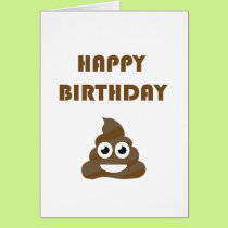 Funny Cute Happy Birthday Party Poop Emoji Card