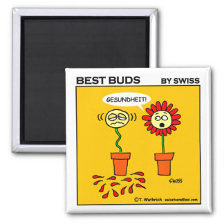Funny Cute Hayfever Flower Cartoon 2 Inch Square Magnet