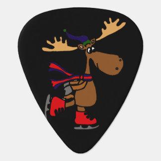 Funny Cute Ice Skating Moose Cartoon Guitar Pick