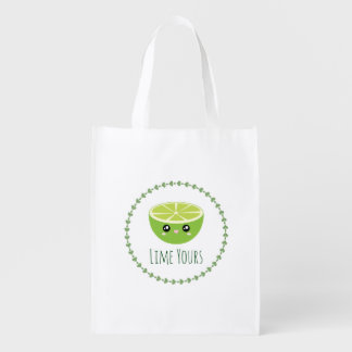 Funny Cute Kawaii Lime Yours I'm Yours Fruit Pun Grocery Bag