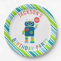 Funny Cute Kids Colorful Robot Birthday Party Paper Plate