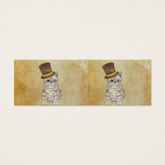Funny Cute Kitten Cat Sketch Monocle and Top Hat Mini Business Card