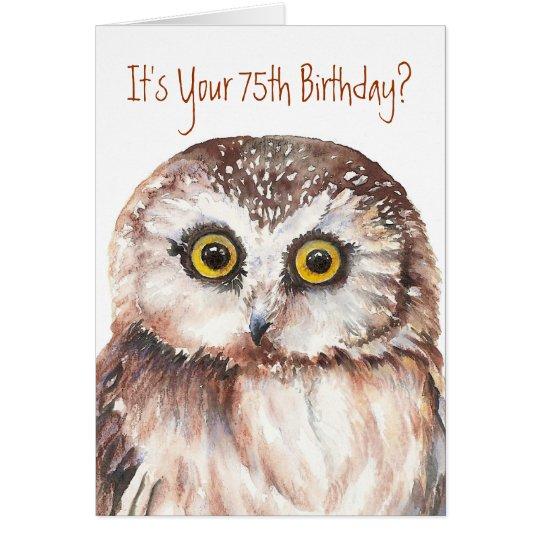 Funny-Cute Little Owl, 75th Birthday Card