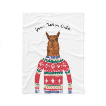 Funny Cute Llama wearing Ugly Christmas Sweater Fleece Blanket