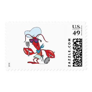 funny cute lobster cook chef stamps