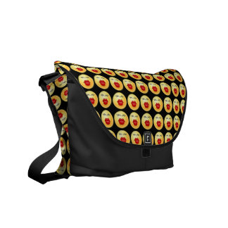 Funny Cute Messenger Bag Smiley Kiss Lips Faces