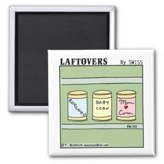 Funny Cute Mom and Baby Corn Laftovers Cartoon Magnet