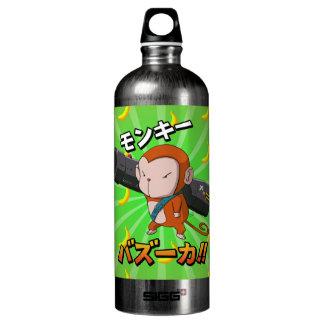 Funny Cute Monkey with Bazooka and Banana Pattern Water Bottle