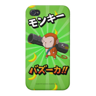 Funny Cute Monkey with Bazooka and Bananas iPhone 4 Case