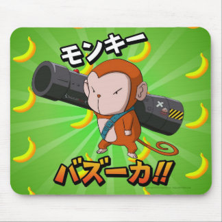 Funny Cute Monkey with Bazooka and Bananas Mouse Pad