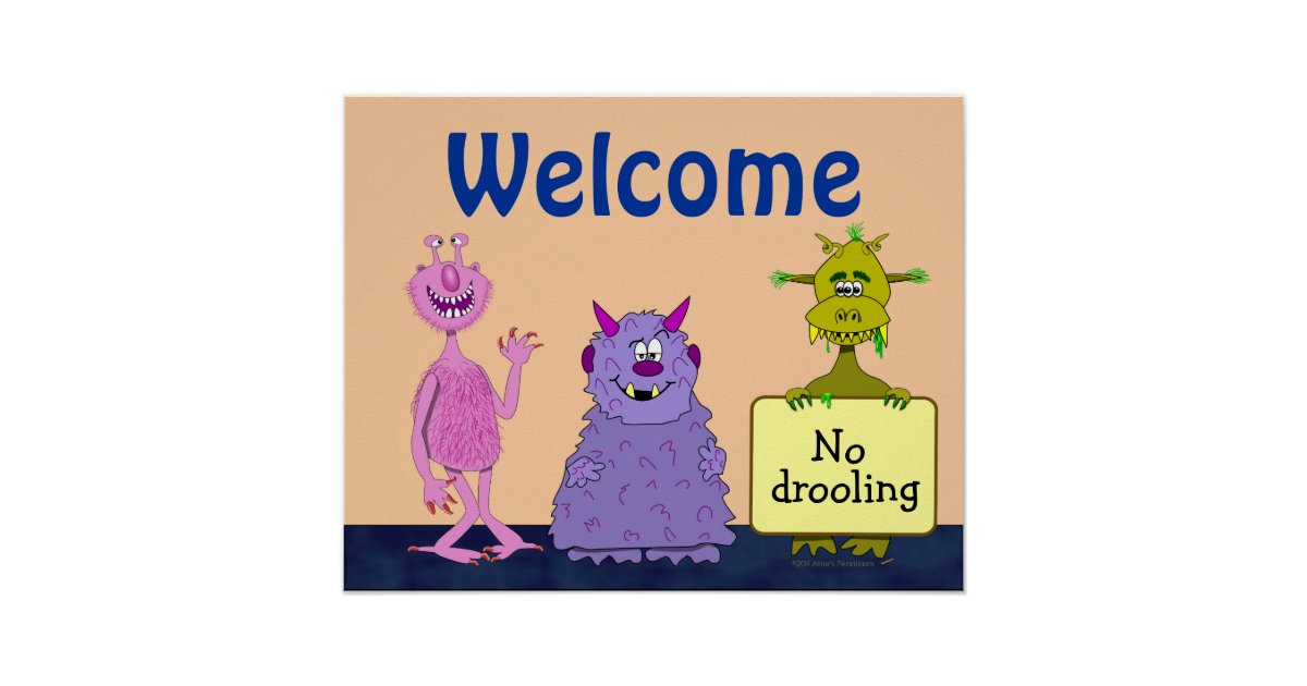funny cute monsters welcome back to kids poster