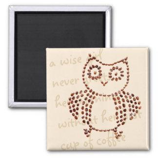 Funny Cute Mosaic Coffee Bean Owl Morning Java Magnet