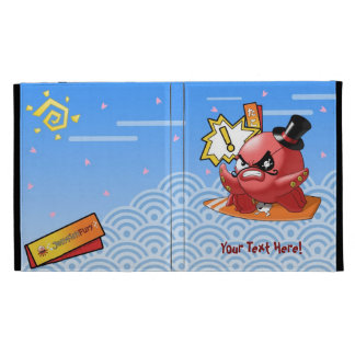 Funny Cute Octopus with Mustache and Wave Pattern iPad Case