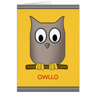 Funny Cute Owl Owllo Hello Custom Card