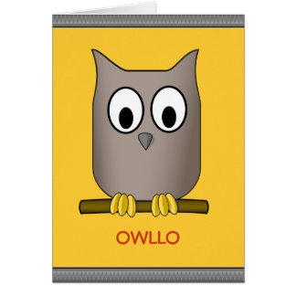 Funny Cute Owl Owllo Hello Custom Card