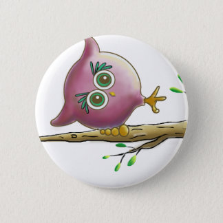 Funny Cute Owl Picture Button