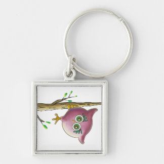 Funny Cute Owl Picture Keychain