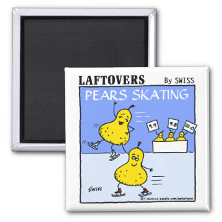 Funny Cute Pears Skating Laftovers Cartoon 2 Inch Square Magnet