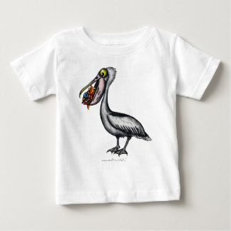 Funny cute pelican with angry fish baby t-shirt