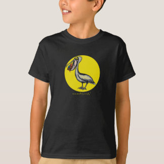 Funny cute pelican with angry fish t-shirt