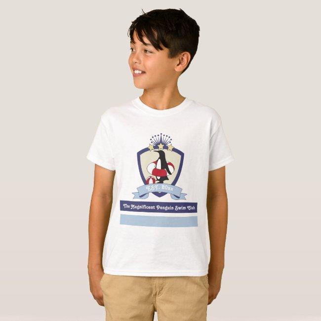 Funny Cute Penguin Swimming Club Crest Kids Custom