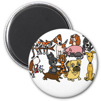 Funny Cute Pets Abstract Art 2 Inch Round Magnet