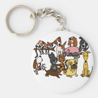 Funny Cute Pets Abstract Art Keychain