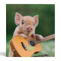 Funny Cute Pig Playing Guitar 3 Ring Binder