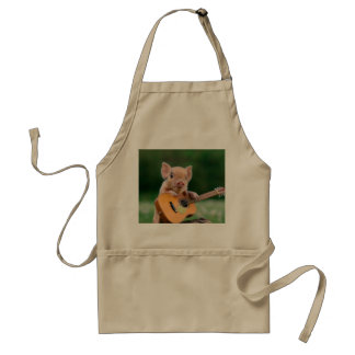 Funny Cute Pig Playing Guitar Adult Apron
