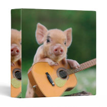Funny Cute Pig Playing Guitar Binder