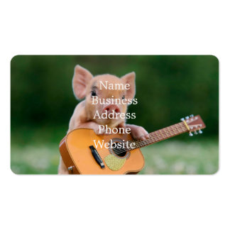 Funny Cute Pig Playing Guitar Business Card