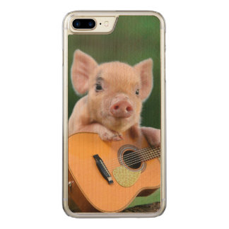 Funny Cute Pig Playing Guitar Carved iPhone 7 Plus Case