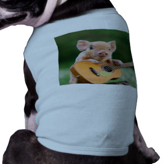 Funny Cute Pig Playing Guitar Dog Tshirt
