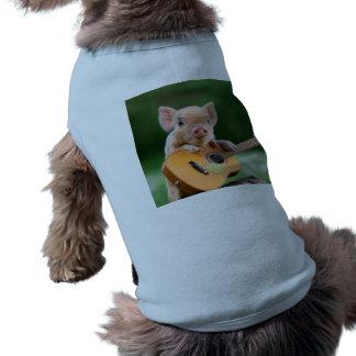 Funny Cute Pig Playing Guitar Dog T Shirt