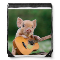 Funny Cute Pig Playing Guitar Drawstring Bag