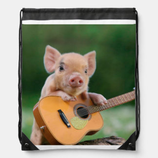 Funny Cute Pig Playing Guitar Drawstring Bag