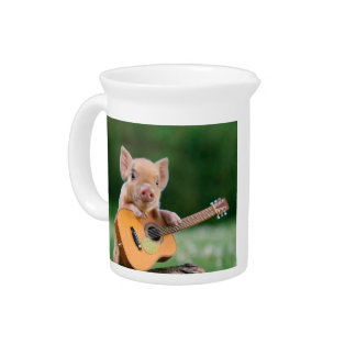 Funny Cute Pig Playing Guitar Drink Pitcher