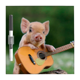 Funny Cute Pig Playing Guitar Dry-Erase Board