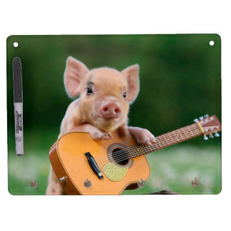 Funny Cute Pig Playing Guitar Dry Erase Board With Keychain Holder
