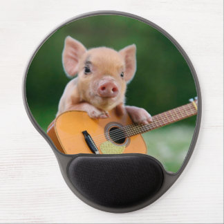 Funny Cute Pig Playing Guitar Gel Mouse Pad