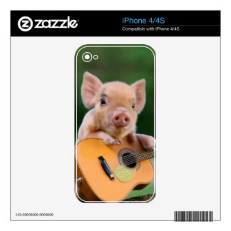 Funny Cute Pig Playing Guitar iPhone 4S Decal