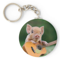 Funny Cute Pig Playing Guitar Keychain