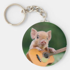 Funny Cute Pig Playing Guitar Keychain at Zazzle