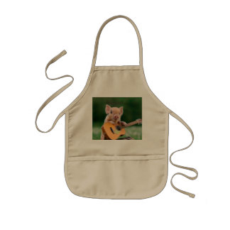 Funny Cute Pig Playing Guitar Kids' Apron