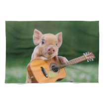 Funny Cute Pig Playing Guitar Kitchen Towel