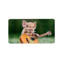 Funny Cute Pig Playing Guitar Label