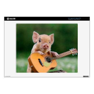 Funny Cute Pig Playing Guitar Laptop Skin