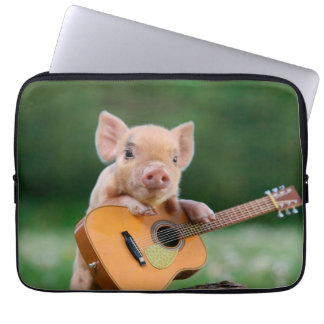 Funny Cute Pig Playing Guitar Laptop Sleeves