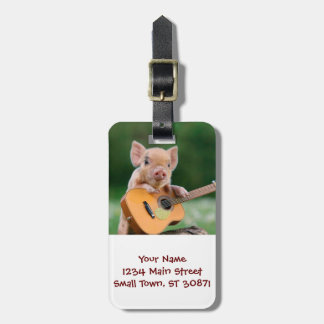 Funny Cute Pig Playing Guitar Luggage Tag