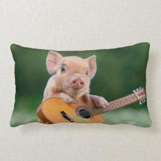 Funny Cute Pig Playing Guitar Lumbar Pillow